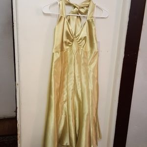Jessica McClintoock lime satin dress